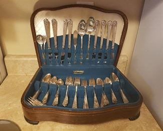 Service for 8 plus serving =53 pcs. William Rogers silver plate flatware & case