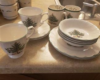 Twelve pieces Christmas china