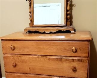 Three drawer maple chest & ornate cheval mirror
