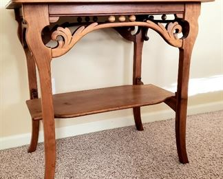Carved antique lamp table