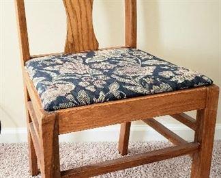 Slat back oak side chair