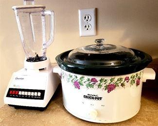 like new Oster blender & Rival crock pot