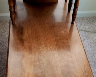 One of a pair early American step end table