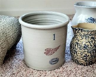 Cement sheep, Red Wing 1 gallon crock, spatter ware etc.