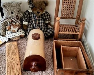 Toys, game, chair, wood boxes & container