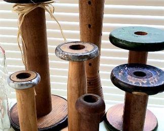 Wood spools used on antique looms