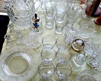 American Fostoria, crystal, stemware, etched plates, glass milk jugs & pressed glass