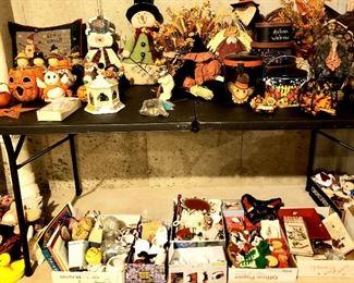 Table of Halloween decor