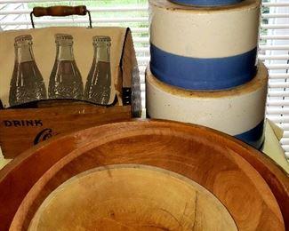 Set of three blue & white crocks & wooden bowels