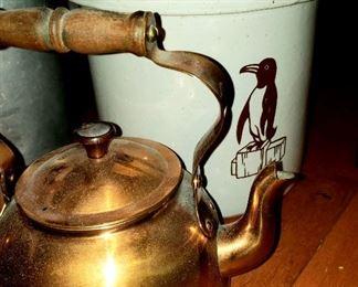 Crock & copper tea kettle