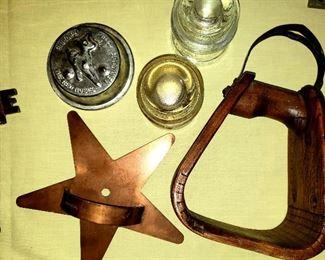 Copper star cutter, stirrup, insulators, key & child's toy