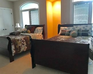 Pair of full size sleigh beds with mattress & box springs Ashley  Furniture
