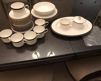 Service for 6 Tiffany and Co. Newport Black China with serving platter, bowl, cream & sugar never used
