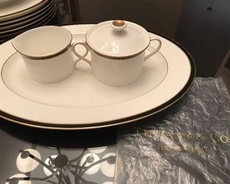 Tiffany and Co. Newport Black serving platter, cream & sugar