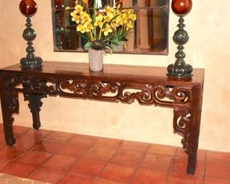 Carved Foyer Table with Decorative