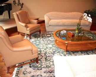 Sofas, Pair of Occasional Chairs, Coffee Table and Rug