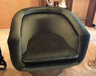 Mid-Century Modern Leon Rosen Pace Swivel Barrel Back Lounge Chairs