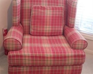 Klaussner Plaid chair and matching accent pillow