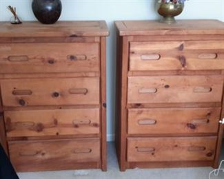 This End up style 4 drawer chest of drawers matching pair