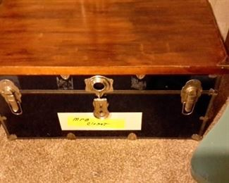 Trunk with hand made wood top to place on top for use as coffee table, etc.