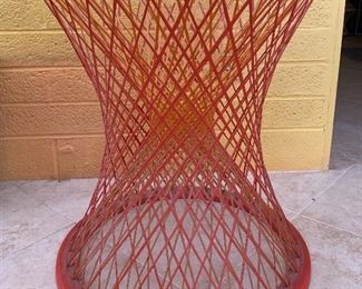 1960s Fiberglass Spun Table Base Pre Russell Woodard Yellow/Red	24in H x 22.75in Diameter at top x 21.5in diameter at Base