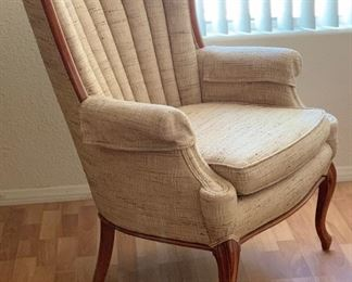 Vintage Channel Back Wood Framed Chair #136x29x32inHxWxD