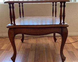 Vintage Walnut/Travertine Top End Table	23x22x22on	HxWxD