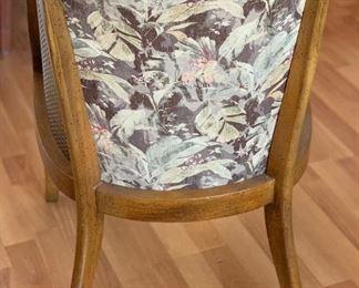 Vintage Walnut/Cane Barrel chair33x22x25inHxWxD