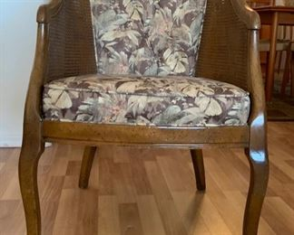 Vintage Walnut/Cane Barrel chair	33x22x25in	HxWxD