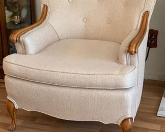 Vintage Upholstered Wood Accent Chair 31x29x31inHxWxD