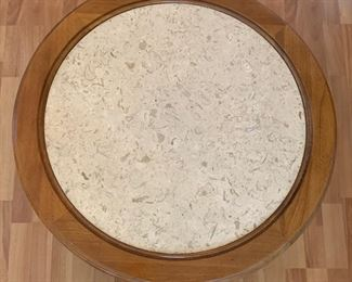 Vintage Walnut/Travertine Top Round End table	21x25in Diameter