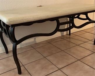 Small Iron & Faux Stone console table	16x36x18in