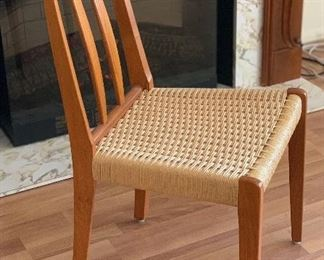 8 Danish Modern Teak High Back Cord/Rope Seats	34x18x21in Seat Height: 18.5in HxWxD