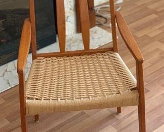8 Danish Modern Teak High Back Cord/Rope Seats34x18x21in Seat Height: 18.5in HxWxD