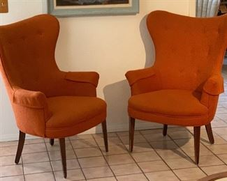 MCM Orange Wingback Chair #1	42x30x29in	HxWxD MCM Orange Wingback Chair #2	42x30x29in	HxWxD