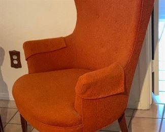 MCM Orange Wingback Chair #1	42x30x29in	HxWxD