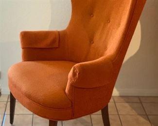 MCM Orange Wingback Chair #242x30x29inHxWxD