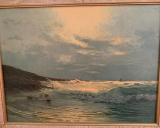 Vintage Seashore Painting
