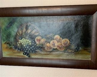 1917 Antique Basket of Fruit Painting Original