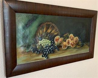 1917 Antique Basket of Fruit Painting Original