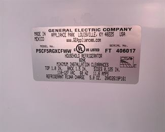 GE Profile 25.3 Cu Ft Side-By-Side Refrigerator PSCF5RGXCFWW	62x36x31in HxWxD