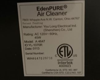 EdenPURE Air Purifier A4647