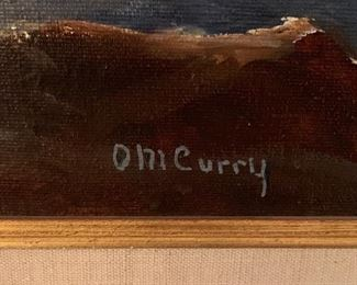Antique Painting Curry Crashing Waves