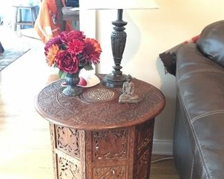 Vintage carved inlaid wooden accent side tables