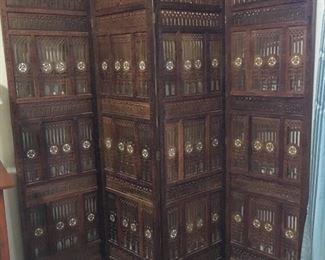 Vintage solid wood hand carved 4 panel room divider