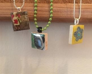 Hand made necklaces made from scrabble tile