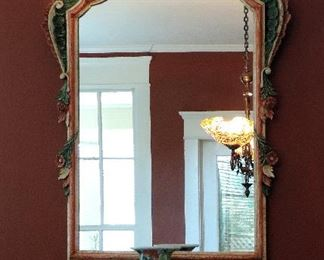 ORNATE WALL MIRROR, ASIAN VASE AND PAIR OF ASIAN STYLE DEER FIGURINES
