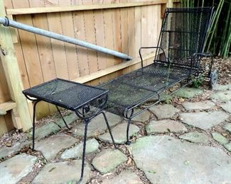OUTDOOR WROUGHT IRON BLACK METAL CHAISE LOUNGE AND SMALL TABLE
