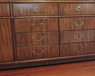 DREXEL MID CENTURY CAMPAIGN STYLE DRESSER AND MIRROR WITH RECESSED BRASS HARDWARE