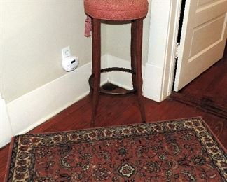 RUG AND UPHOLSTERED STOOL
